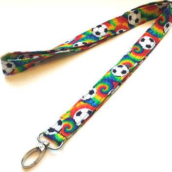 Tie Dye Soccer Print Fabric Lanyard Mens or Womens Sports Lanyard Girls Soccer Keychain or Keyfob Soccer Accessories ID or Badge Holder