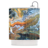 "Carol Schiff ""Geologic Veins"" Brown Orange Shower Curtain"
