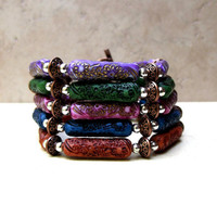 Color Choice Bracelet:  Mix and Match Stacking Bracelet, Layering Flower Toggle Bohemian Jewelry