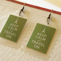Keep calm earrings travel eiffel tower FREE by QueenAndEye on Etsy