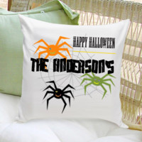 Personalized Halloween Throw Pillows - Spiders