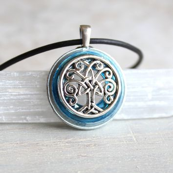 Silver Celtic tree of life necklace - available in additional colors