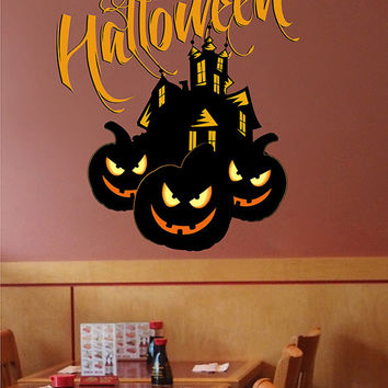 kcik1642 Full Color Wall decal greeting halloween coffee shop showcase