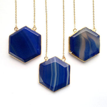 Ink Blue Agate Necklace Purple Agate Necklace Hexagon Pendant Prism Pendant Honey Comb Pendant Geometric Necklace Stone Necklace Gold Agate