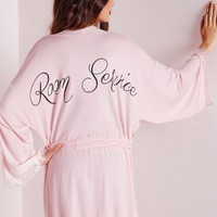 Missguided - Room Service Slogan Dressing Gown Pink