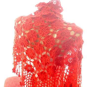 Crochet red shawl