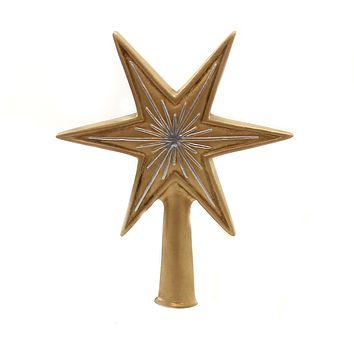 Marolin GOLD & SILVER LITTLE STAR Paper Mache Tree Topper German Finial 200313G