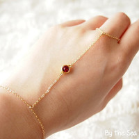 Slave bracelet finger bracelet hand chain - 14k gold filled- with swarovski Ruby -dainty
