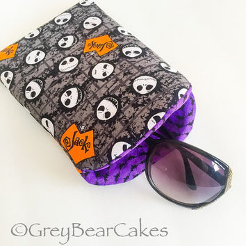 Jack Skellington Extra Large Sunglass Case, Fabric Sunglasses Case, Soft Glasses Case, Padded Glasses Sleeve, Halloween Case