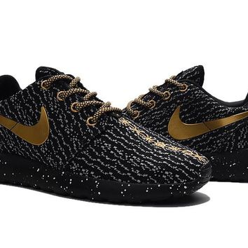 """""""Nike Roshe One x Yeezy 350 Boost"""" Men Sport Casual Flywire Ink Jet Sneakers Running Shoes"""