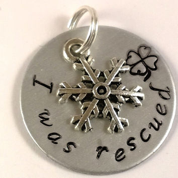 Rescue tag, dog tag, cat tag, hand stamped tag, unique pet tag, custom pet tag, custom dog tag, custom cat tag, snowflake tag