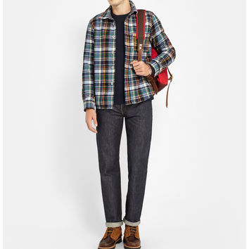 Junya Watanabe - Levis Suede Elbow Patch Check Wool Overshirt | MR PORTER