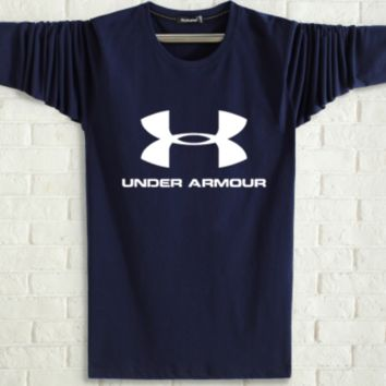 Under Armour Spring and autumn new fashion men and women letter print long sleeve tops Navy blue