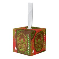 Merry Christmas -Green/Red Skull Cube Ornament