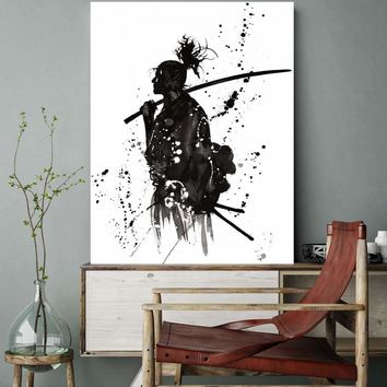 Black and White Japan Portrait Wall Art Canvas Prints Painting for Office Room Wall Decor Japanese Samurai Asian Warriors Poster