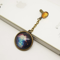 Retro Epoxy Transparent Gems Galaxy Space Cell Phone Earphone Jack Anti dust Plug Charm for iPhone 4s,4g,5,5s,5c Samsung S4, HTC