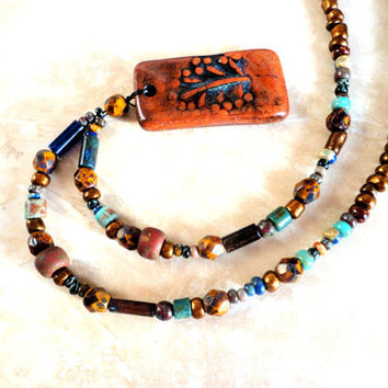 Earthy Boho Pottery Necklace, Nature Lover Beaded Jewelry, Ceramic Pendant, ooak - Copper / Turquoise