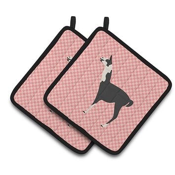 Llama Q' Ara Pink Check Pair of Pot Holders BB7918PTHD