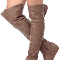 Taupe Faux Leather Thigh High Riding Boots