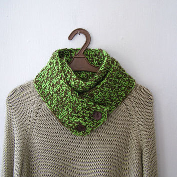 Crochet Wrap Button Scarf, Woodland Green Brown Cowl Knit, Men Women Chunky Neckwarmer, Outlander Infinity Long Scarf, Winter Handknit Gift