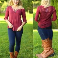 Casual Crochet Top in Burgundy