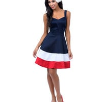 Navy, Red, & White Rosie Flare Dress - Unique Vintage - Prom dresses, retro dresses, retro swimsuits.