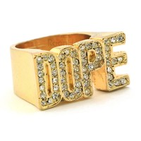 "HIP HOP ICED OUT FASHION ""DOPE ENTERTAINMENT"" GOLD PLATED RING BK009G"