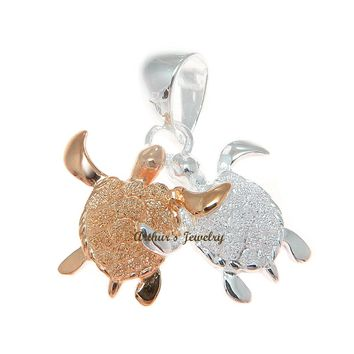 ROSE GOLD STERLING SILVER 925 HAWAIIAN COUPLE SEA TURTLE PENDENT