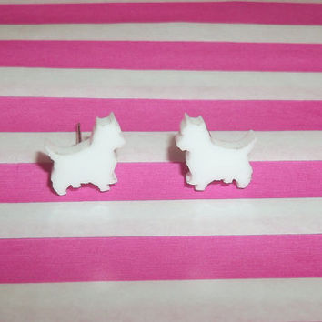Westie Dog Earrings, Kitsch White Dog Stud Earrings, Cute West Highland Terrier Dog Jewelry