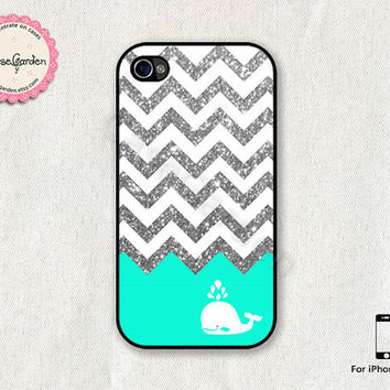 Glitter Chevron Mint Whale iPhone 4 Case iPhone 4s by CaseGarden
