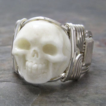 Carved Bone Round Skull Cameo Sterling Silver Wire Wrapped Ring ANY size