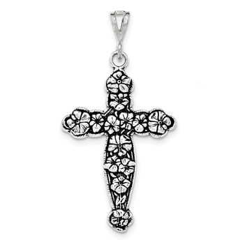 Sterling Silver Antiqued & Textured Large Floral Cross Pendant QC8238