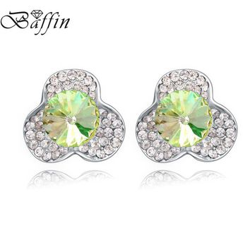 BAFFIN Crystals From SWAROVSKI Stud Earrings For Women Party Jewelry 2017 Fashion Flower Piercing OL