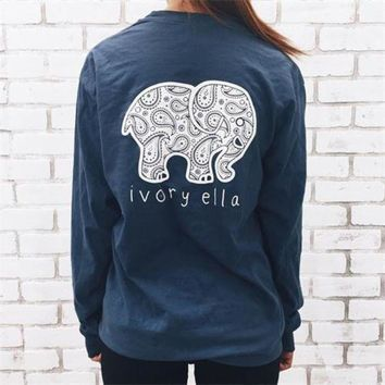 2016 Fashion Women Popular Navy Blue Ivory Ella Cartoon Elephant Printed Floral Printed Long Sleeve Top T Shirt