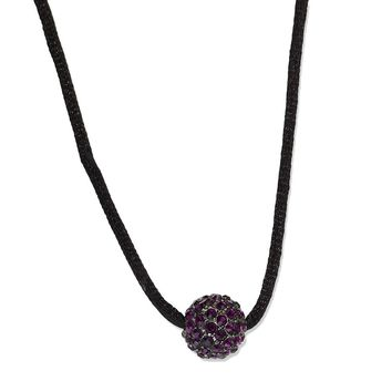 Black-plated Purple Crystal Fireball on 16 w/ext Satin Cord Necklace