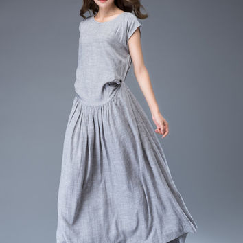 Gray linen dress maxi dress loose dress
