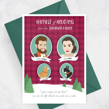 Custom Christmas Card with Couple Portraits and Pets, Funny Christmas Card with Plaid, Family Christmas Card - Printable Christmas Card