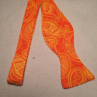 Handmade Orange Leafy Pattern Bow Tie