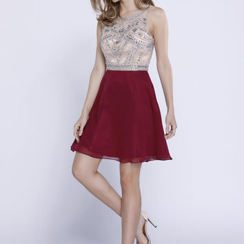 Beaded Colorblock Chiffon Dress- Burgundy