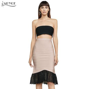 Black Strapless Crop Tops and Lace patchwork Bandage Skirts 2 Two Pieces Sets