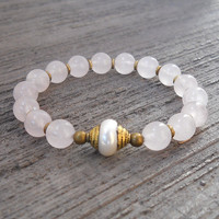 healing and purity, Genuine rose quartz and Tibetan capped pearl guru bead