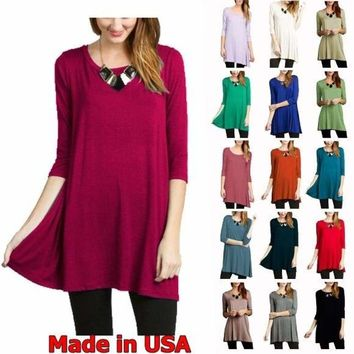USA Womens 3/4 Sleeve Tunic Top Dress Round Neck Blouse S M L XL Plus 2X 3X New   1 2