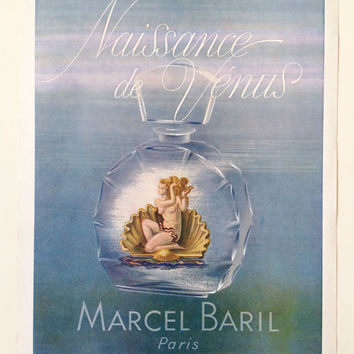 Wall Decor Rare 1940s French Perfume Advertisement 'Naissance de Vénus' by Marcel Baril 1940's Perfume Poster French Ad Bathroom Decor Paris