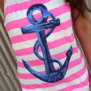 New Summer fashion Sexy Women vest  sequin anchor pattern & Pink Stripe sleeveless T-shirt -0706