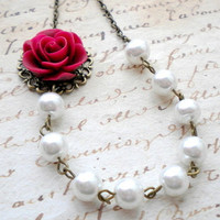 Burgundy Necklace Pearl Bridesmaid Necklace Rose Wedding Jewelry Flower Bridal Necklace White Beadwork Necklace Maid Of Honor Necklace