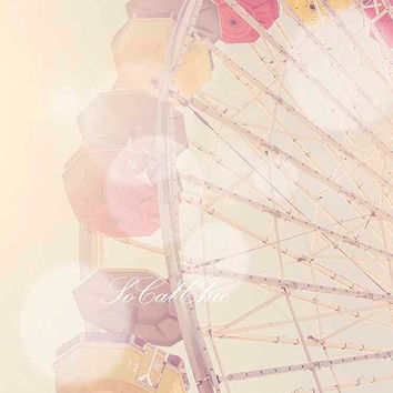 Santa Monica Beach Photography Ferris Wheel Nursery Pink Los Angeles California Summer Ocean Wall Decor Baby Girl