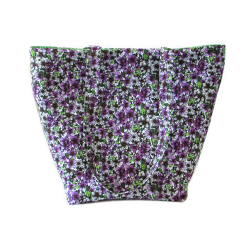 Floral Tote Bag, Cloth Purse, Purple Flowers, Handmade Handbag, Violets, Purple, White, Green, Fabric Bag, Shoulder Bag