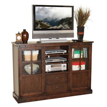 Santa fe collection distressed dark chocolate finish wood High TV stand