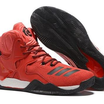 Fashion Adidas D Rose 7 Primeknit Red, Black & White Derrick Men's Basketball Shoes