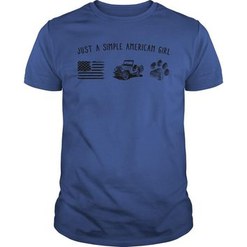 Just a simple American girl flag jeep and dog paw shirt Premium Fitted Guys Tee